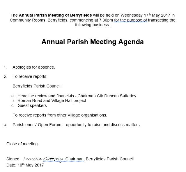 Berryfields Parish Council Agendas and Minutes BERRYFIELDS